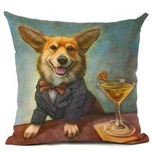 45x45 Creative Cartoon Color Dog Home Decor Cushion Cover Decorative Printed Throw Pillowcase Cojines Almofada
