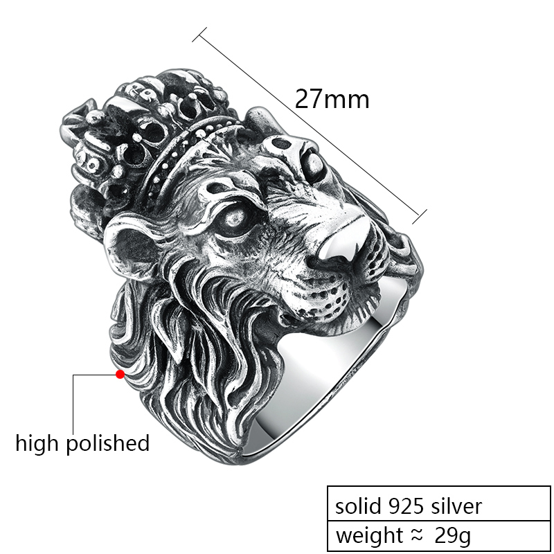 ZABRA แท้เงินแท้ Silver 925 Sterling Silver Crown Lion King แหวนผู้ชาย Punk Retro Vintage Cool Biker สิงโตหัวแหวน-ใน ห่วง จาก อัญมณีและเครื่องประดับ บน   2