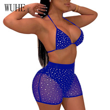 WUHE Summer Two Piece Set Rompers Womens Jumpsuit Sexy Deep V Neck Spaghetti Strap Sequin Sheer Mesh Playsuit Macacao Feminino