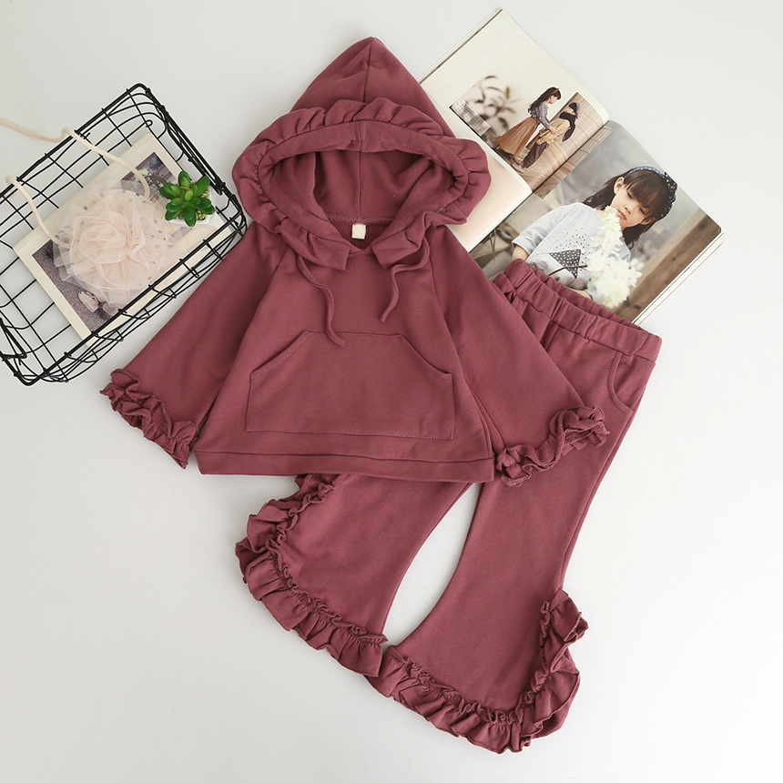 New Autumn Retail Baby Girls Fashion Cotton Casual Sets: Hood Ruffles Top+ Pants Princess Solid Suits Free shipping new autumn retail baby girls fashion