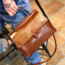 BRIGGS Vintage Genuine Leather Tote Bag Fashion Women Handbag Female Large Shoulder Crossbody Bags High Quality Solid Handbag