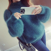 2017 Women Thick Oversized Sweaters Knitted Winter Mink Cashmere Pullovers Pull Femme Mohair Turtleneck Poncho Sweater Christmas