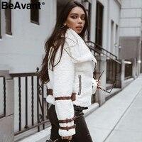 BeAvant отложной воротник Тедди куртка пальто женская уличная Повседневная белая куртка из искусственного меха на молнии sash верхняя одежда зи...