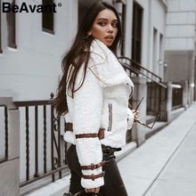 BeAvant Turndown collar teddy jacket coat women Streetwear casual white faux fur coat Zipper sash outerwear winter jacket 2018