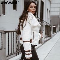 BeAvant Turndown collar teddy jacket coat women Streetwear casual white faux fur coat Zipper sash outerwear winter jacket 2018