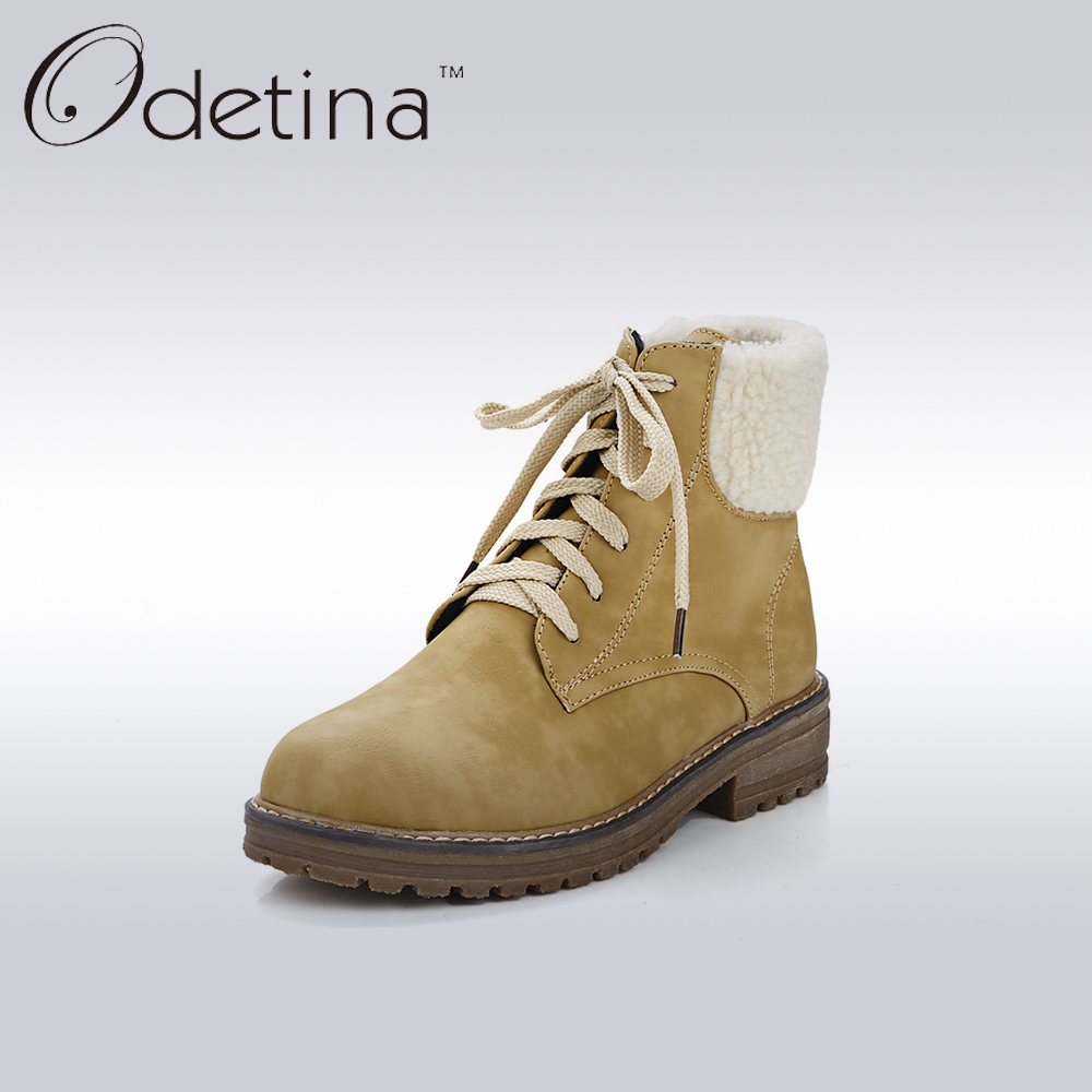 Odetina 2017 Spring New Lace Up Women Pu Leather Ankle Boots Ladies Warm Plush Flat Booties Non-slip Women Casual Shoes Big Size fall flat black waterproof 2017 women shoes retro front lace up casual ankle boots autumn patent leather chunky booties vintage
