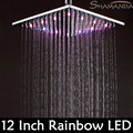 Free Shipping Solid Brass Chrome Finished 12 Inch LED Shower Head With 30x30 cm Rainbow Colors Showing Gradually As Time Changes
