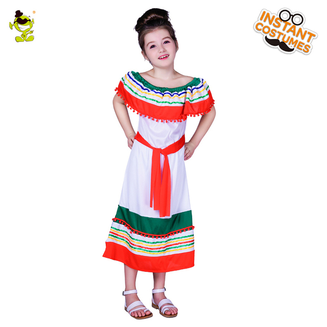 new design girl's off shoulder rainbow mexican costumes