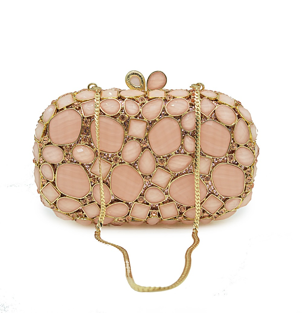 XIYUAN women pink Gemstone Diamond Evening bags clutch small Purse Metal day Clutches wallets Wedding Dinner Minaudiere Handbag xiyuan pink evening bags flat diamond rhinestone pearls beaded day clutches women purse handbags wallets wedding evening bag