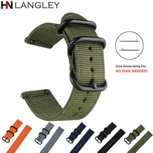 Amry Green Sports Nylon Watch Bands 22mm 20mm Strap For Samsung Gear S3 Frontier S2 Classic General 18mm 24mm Universal Bands(China)