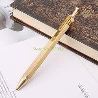 Прочный шестигранный пресс металлическая шариковая ручка для бизнеса 0,5 мм Nib школьные офисные канцелярские принадлежности для письма студ...