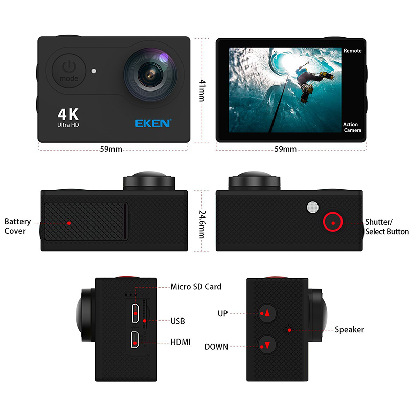 Image 3 - Eken 4K Action camera Original EKEN H9 / H9R remote Ultra HD 4K WiFi 1080P 60fps sports waterproof pro drone camera-in Sports & Action Video Camera from Consumer Electronics