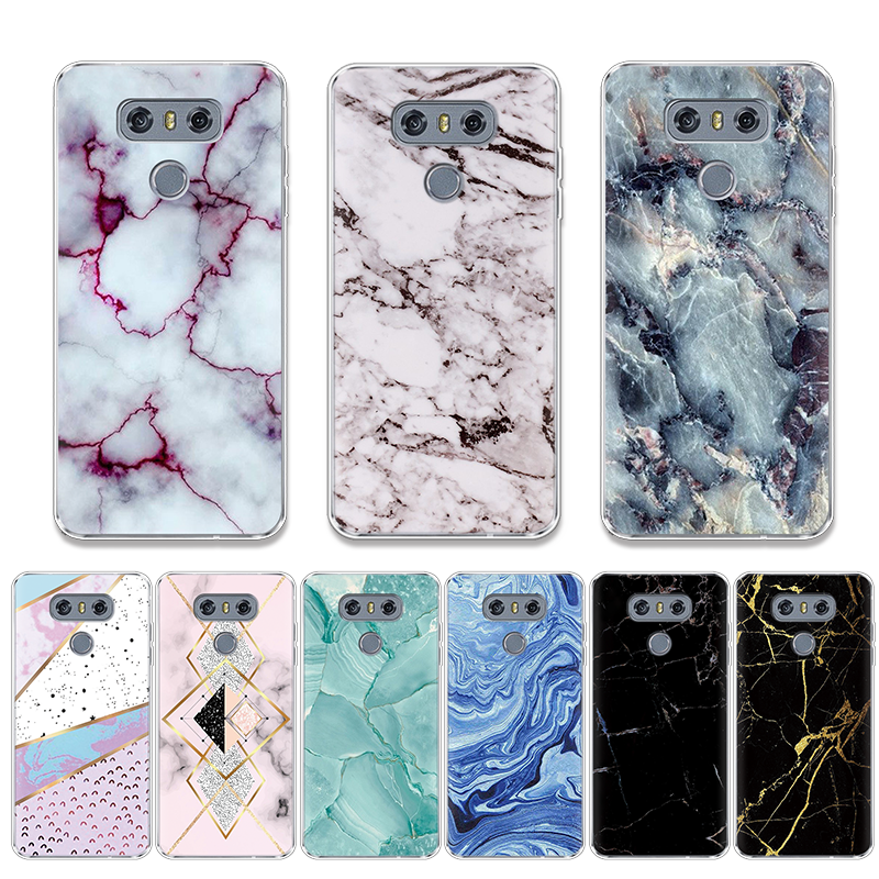 Geometric Marble Cases For <font><b>LG</b></font> V20 V30 G8 ThinQ G4 G5 G6 K4 K8 K10 2017 <font><b>K11</b></font> Plus Nexus 5X Q7 X Power 2 Transparent Silicone Cover image