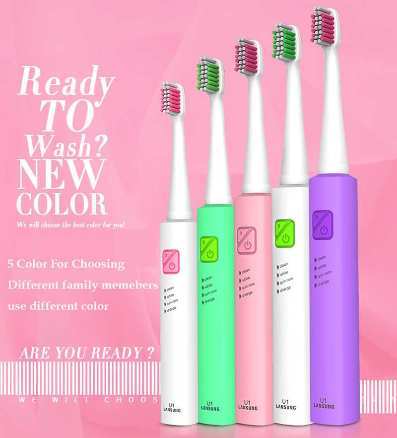 Sonic Electric Toothbrush USB Charge Rechargeable Tooth Brushes With 4 Pcs Replacement Heads Timer Brush soocas x3 sonic electric toothbrush