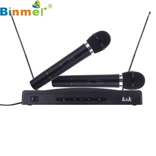 Professional Wireless Microphone System Dual Handheld + 2 x Mic Cordless Receiver Drop Shipping BINMER Futural DigitalAP19