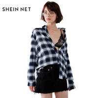 SHEINNET Solid Blue White Strips Shirt Women Casual Long Sleeve Pocket Printed Buttons Fashion Blouses Female