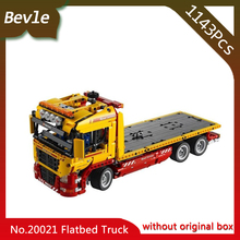 Bevle Store LEPIN 20021 1143Pcs Technic Series Electric motor Flat trailers Building Blocks Set Bricks For Children toys