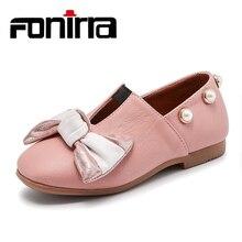 Fashion Design Siswa Gadis Kulit Sepatu Datar Slip Pada Sepatu Bow-knot Besar Dengan Mutiara Partai Wear Sepatu Kasual 363