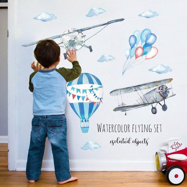 Акварельный самолет воздушный шар настенные наклейки детские комнаты Декор для дома из ПВХ настенные украшения для детской наклейки обои