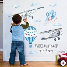 Avión de acuarela de aire caliente de fondo con globos de la etiqueta engomada de los cabritos de la decoración del hogar de PVC Mural calcomanías pegatinas para guardería papel pintado