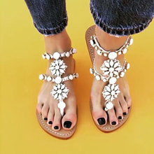 Womens PU Rhinestones Chains Flat Gladiator Sandal Wedding Shoes Silver gold Flip Flops Summer Beach T-Strap Sandals