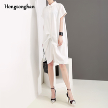 Hongsonghan Korean women fashion clothing accept wholesale spring summer dress knee-length concise shirt blouse tide