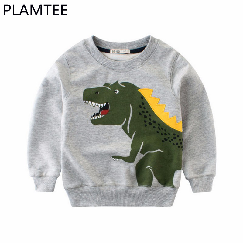 PLAMTEE Sweatshirts For Children Spring Cotton Cartoon Printing Boys Hoodies 2018 New Fashion Round Neck Baby Boys Clothing