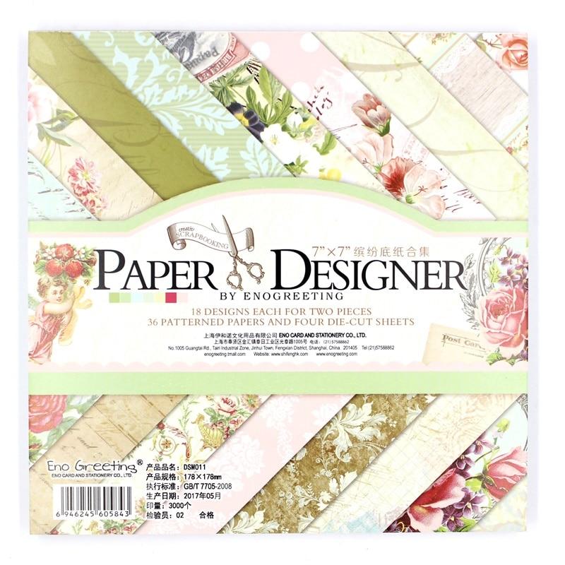 YPP ARTISANAT 36 feuilles/lot Vintage floral motif creative papercraft art papier à la main scrapbooking kit set livres