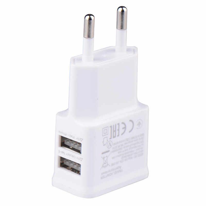5 V 2.0A USB Universal Mobile Phone Charger PLUG DUAL Double Dinding AC Power USB Charger Rumah atau Perjalanan untuk iphone Ipad Ipod