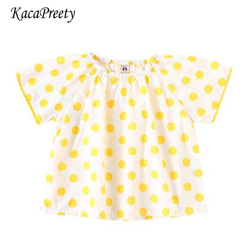 Erfinderisch Gelb Polka Dot Kurzarm Shirt Kinder Bluse Sommer Baumwolle Casual Tops Kinder Kleidung 0-3yrs Hochwertige Materialien