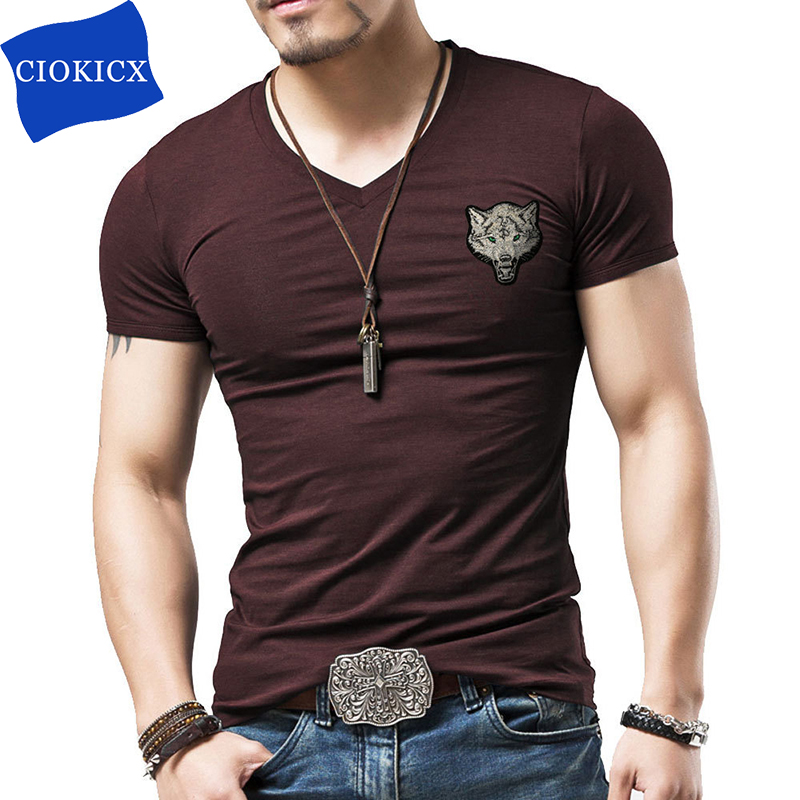 t shirt men cotton black v neck mens t shirts 5xl short sleeve wolf pattern 2017 summer casual. Black Bedroom Furniture Sets. Home Design Ideas