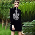 High Quality 2016 Runway Designer Dress Women's Winter New gorgeous Diamonds Beading Vintage Black Velvet Dress