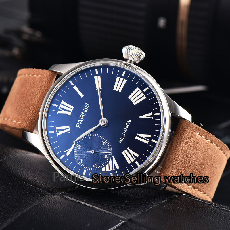 лучшая цена Parnis 44mm blue Dial steel case st36 Mechanical Hand Winding Mens 6497 Watch