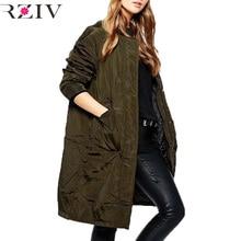RZIV 2016 winter jacket women coat casual double-pocket decoration long pure color loose flight bomber jacket coat warm