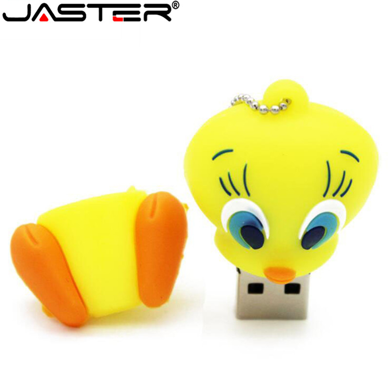 JASTER Cartoon Silicone Usb 2.0 Flash Drive 4gb 8gb 64GB Cute Little Yellow Duck Tweety Usb Pendrive 16gb 32gb Usb Memoria Usb