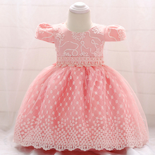 Retail Baby Girl Birthday Party Ball Gown Dresses Newborn Baby Baptism Dress Baby Girl Appliques Dress L1855XZ