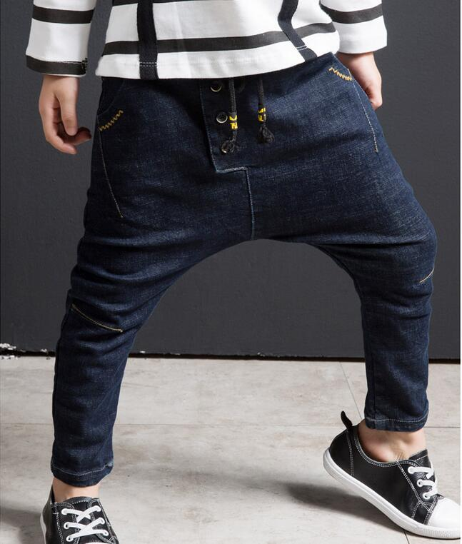 New 2017 children clothing soft denim jeans pants boy trousers big crotch kids children denim boys jeans pants boys harem pants high quality brand clothing casual trousers drawstring denim green cargo pants regular fit pockets full jeans pants 28 38 a320