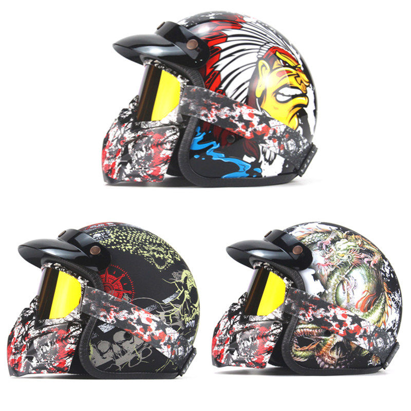 Harley Helmets vintage Open Face motorcycle helmet Motorcross Casco Capacete Retro motorcycle Helmet Pirate/Indian/Dragon Print-in Helmets from Automobiles & Motorcycles    1