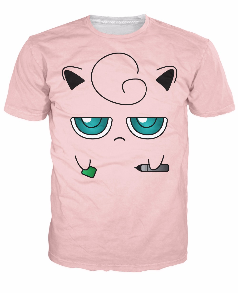 Jigglypuff Face T-Shirt Sexy fairy-type Pokemon Characters t shirt Casual tee Summer fashion clothing tops for men S-5XL R771 image