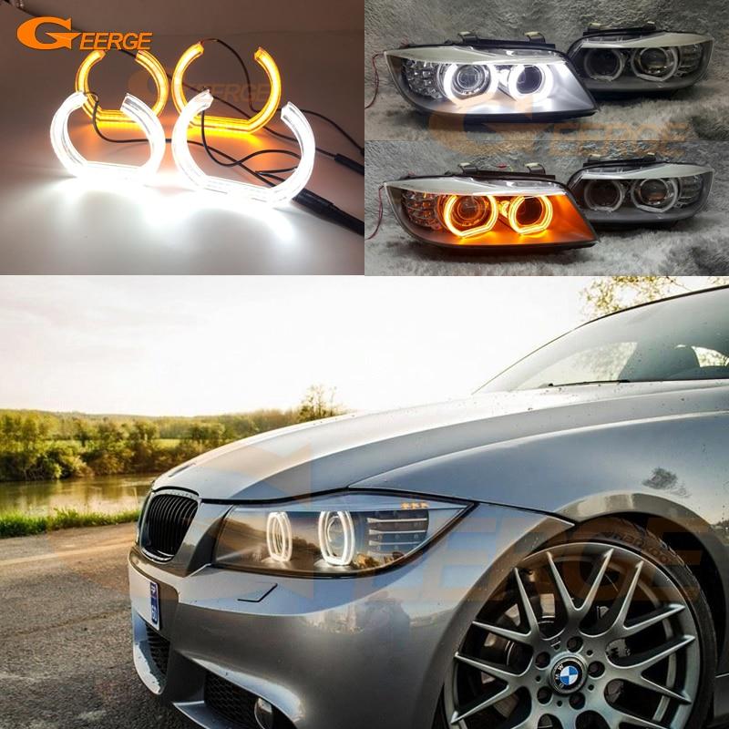 For BMW 3 SERIES E90 E91 SEDAN WAGON 2006-2011 Xenon headlight DTM Style LED Angel Eye Kit Dual White Amber switchback