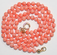 1141 LIGHT PINK CORAL Bead CLASP KNOTTED NECKLACE collares anime 925 silver