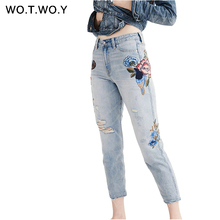 Embroidery Denim Pants Women Fashion Skinny Jean Femme Hole Style Pencil Jeans Mid Waist Ankle-Length Cotton Trousers Women P729