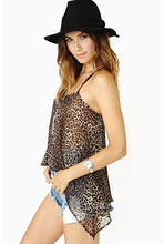 Free Shipping New Fashion Women's New European Wild Sexy Leopard Chiffon Straps Long Section of Small Vest HarnessSK28