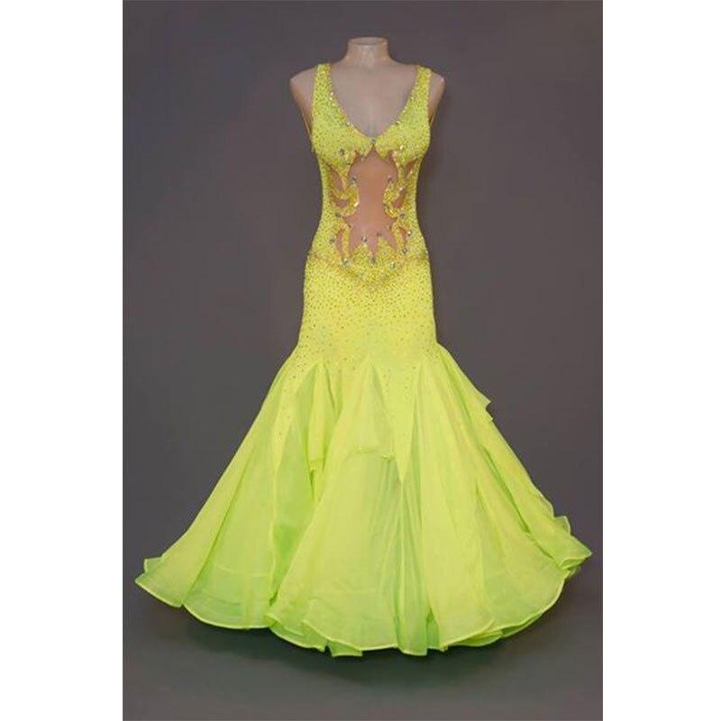 Ballroom Dancing Dress Sexy Deep V collar sleeveless Slim Woman Modern Waltz Tango Dance Dress/standard Ballroom Costume