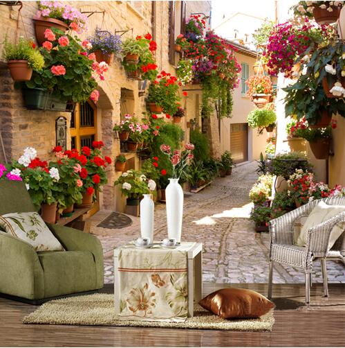 European Street Scenery Custom Mural Wallpaper Flower Full Wall Murals Printed Home Decor Photo Wallpaper Papel De Parede 3D custom 3d stereo wallpaper murals window outside european scenery living room tv wall decoration painting papel de parede 3d