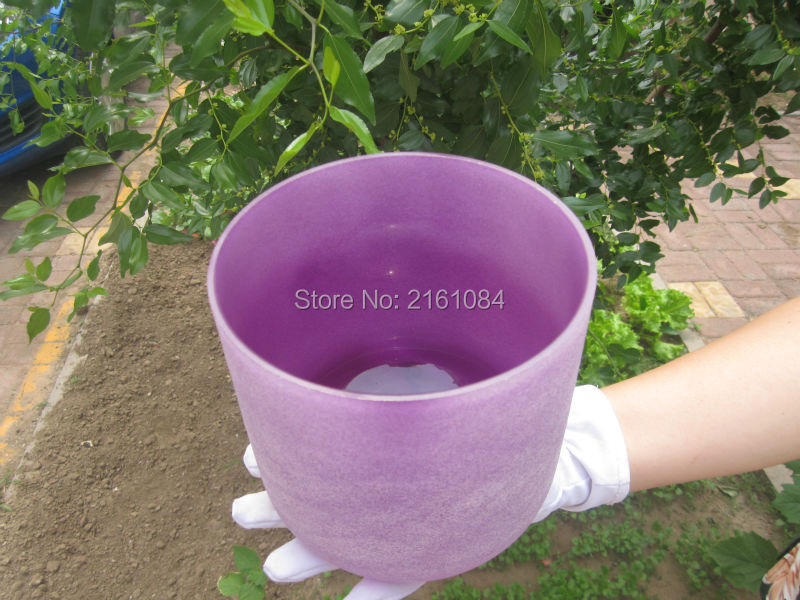 ФОТО 11 inch  B Note Purple Color Crown Chakra Frosted Quartz Crystal Singing Bowl with free suede and o-ring