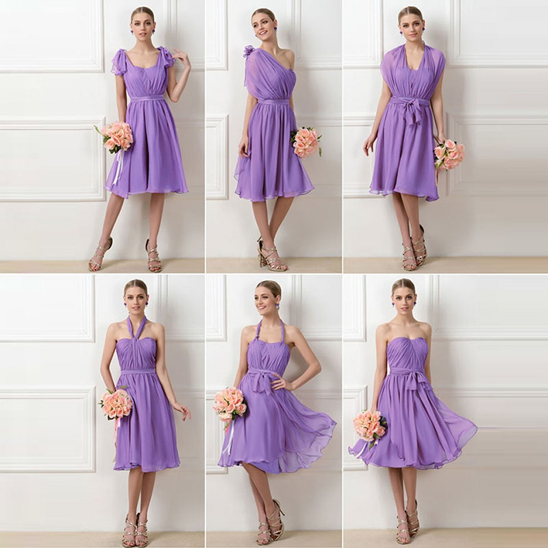 Tanpell a line ruched   bridesmaid     dress   dark lilac sleeveless knee length gown lady wedding party custom short   bridesmaid     dresses