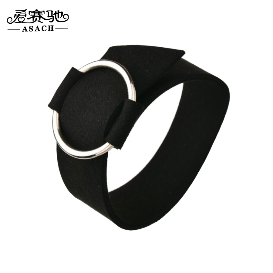 Asach Pulseira Masculina Fashion Adjustable Alloy Circle Cuff Bracelet Punk  Black Velvet Leather Bracelets For Women