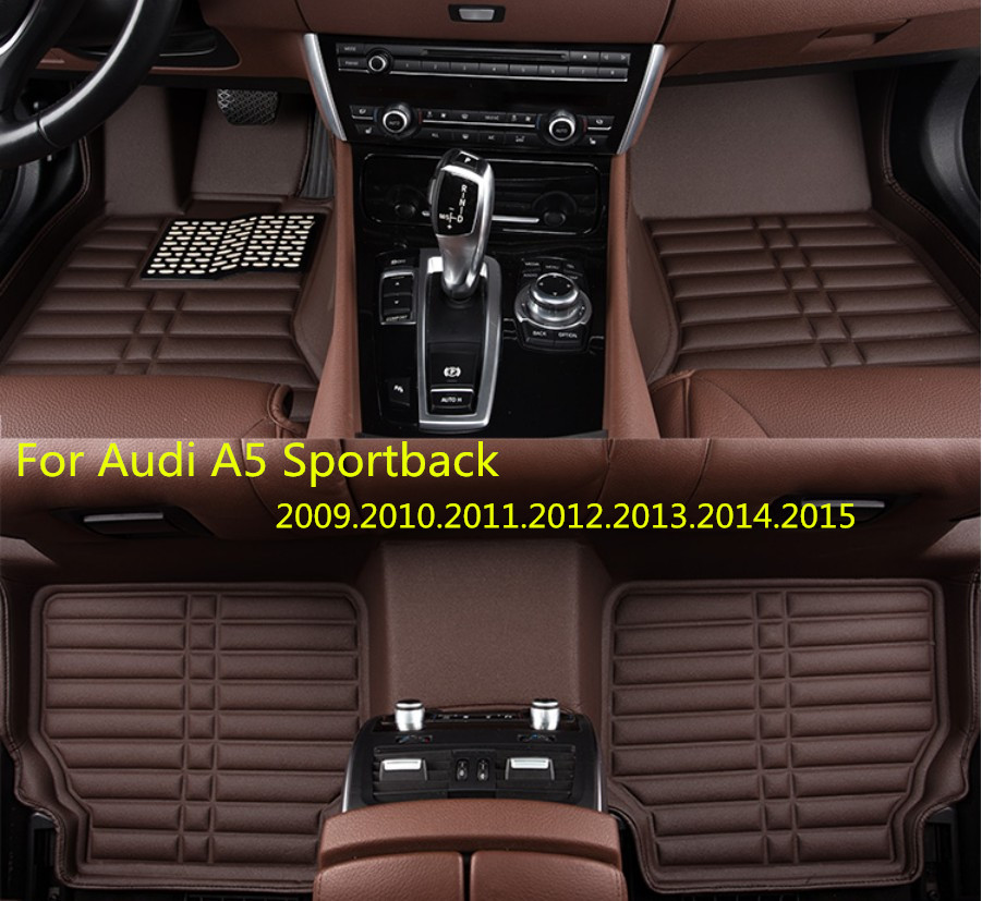 For Audi A5 Sportback 2009-2015 Car Floor Mats Foot Mat Step Mats High Quality Brand New Waterproof,convenient,Clean Mats 3d trunk mat for peugeot 508 waterproof car protector carpet auto floor mats keep clean interior accessories