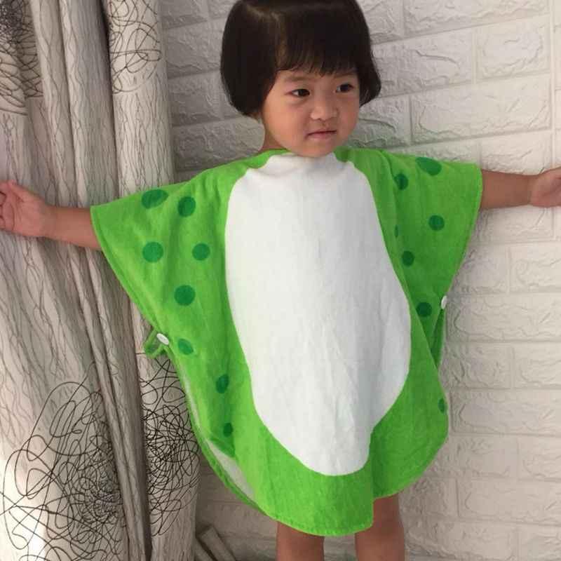 子供バスタオルローブキッズフード付き水泳ポンチョ恐竜パターン (緑 + 白 55 センチメートル × 110 センチメートル)